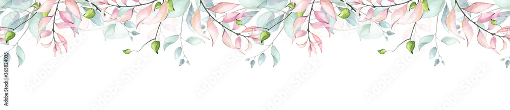 Fototapeta Watercolor hand painted pink, turquoise and green eucalyptus and leaves delicate seamless border. Isolated floral arrangement on white background
