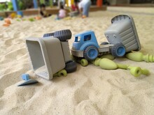 There Are Many Colorful Trolleys Full And All Kinds Of Toys In The Children's Bunker  For The Joyful Concept Of Sandpit