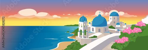 Obraz Santorini islands flat color vector illustration - fototapety do salonu