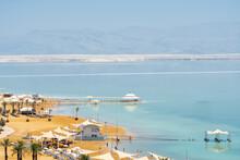 Beautiful Beaches Of The Dead Sea In Ein Bokek In Israel. Aerial View