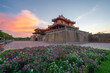 Ngo Mon gate - the main entrance of forbidden Hue Imperial City in Hue city, Vietnam, during sunset time