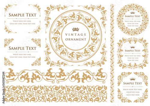 Fotografia vintage ornament set. decorative borders and frames.