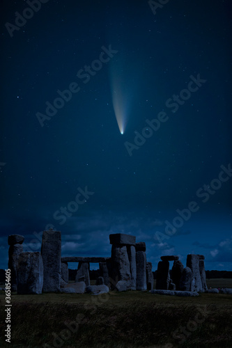 Digital composite image of Neowise Comet over Stonehenge in England