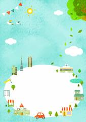 青空の都市風景バックグラウンド フレーム