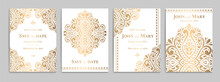 Wedding Invitation Card With Luxury Gold Pattern Design On A White Background. Vintage Ornament Template. Can Be Used For Flyer, Wallpaper, Packaging Or Any Desired Idea. Elegant Vector Elements.