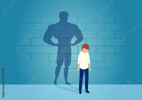 Vector of a weak man teenager standing depressed in front of a wall with his str Tableau sur Toile