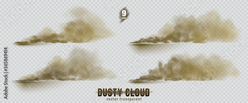 Fotografía Dusty cloud or broun dry sand flying with a gust of wind, sandstorm, explosion realistic texture with small particles or grains of sand illustration 9 set isolated on transparent background