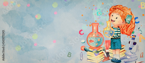 Chemistry lesson. Watercolor education background