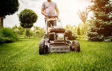 Gardener Mowing The Lawn. Land...