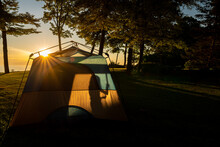 Tent, Silhouette, Girl, Camping, Camp, Trip, Vacation, Summer, Leisure, Sunset, Sunburst, Warm, Adventure, Outdoors, Outdoor, Sunset, Outside,