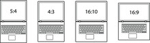 Diagrams Comparing Differences Between Different Screen Aspect Ratios. Laptop/notebook Computers. Line Art.