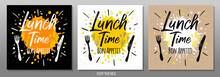 Lunch Time Bon Appetit, Enjoy Your Meal, Quote, Phrase, Food Poster, Splash, Fork, Knife. Lettering, Sketch Doodle Style, Sign For Menu, Cafe, Restaurant Lunch Breakfast Dinner Vector Illustration