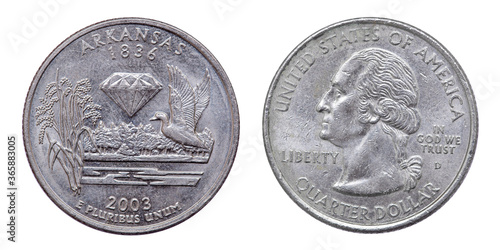 Papel de parede Quarter dollar coin. Arcansas. USA. 2003 year