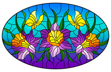Illustration In Stained Glass Style With A Bouquet Of Purple Flowers And Yellow Butterflies On A Blue Background, Oval Image