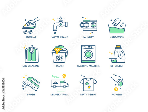 Fotografie, Obraz Laundry, dry cleaning line icons set.