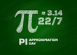 pi approximation day vector, green chalkboard with text