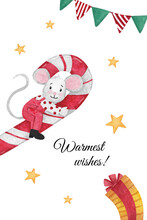 Christmas Illustration With Mouse Sitting On A Candy Cane With Flags, Gift And Stars
