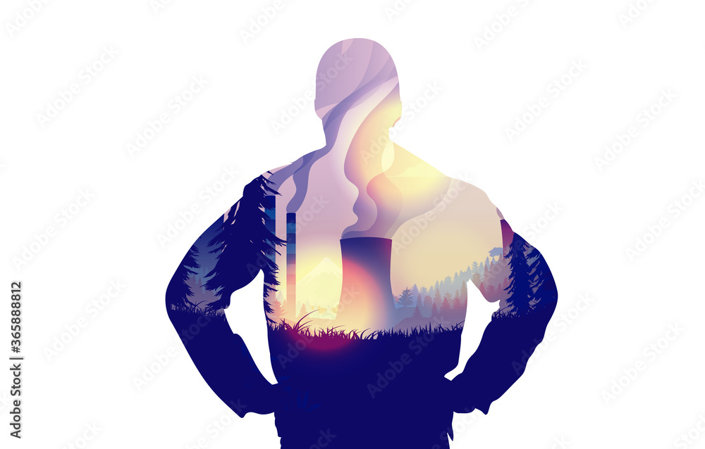 Fototapeta Upset over Air Pollution - Silhouette of man with image of polluting industry in nature, sending smoke and fog into the atmosphere. Climate change concept. Vector illustration.