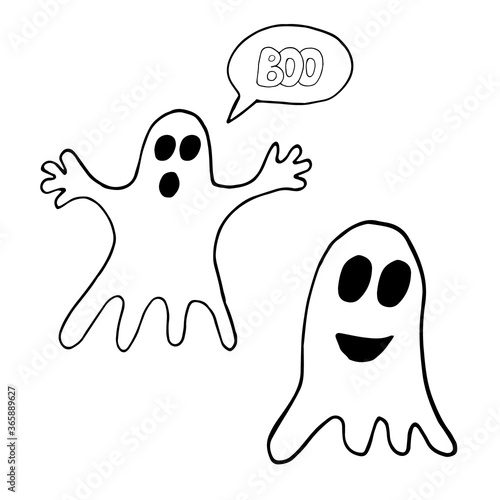 Valokuva ghosts and lettering boo in a bubble hand drawn in doodle style