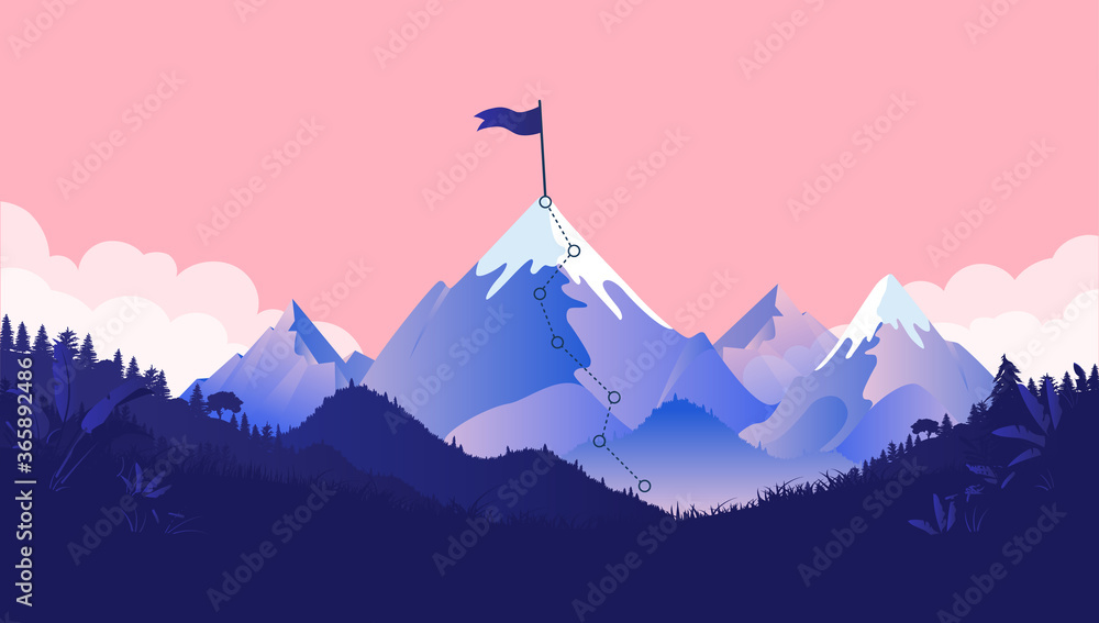 Fototapeta Mountaintop goal - Path to mountain summit with snow and flag on top. Coral coloured background, forest and clouds. Business goals, achievement and challenge concept. Vector illustration.