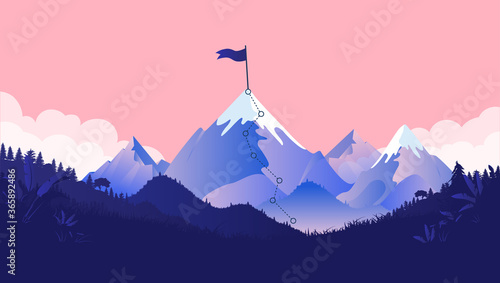 Fototapety, obrazy: Mountaintop goal - Path to mountain summit with snow and flag on top. Coral coloured background, forest and clouds. Business goals, achievement and challenge concept. Vector illustration.