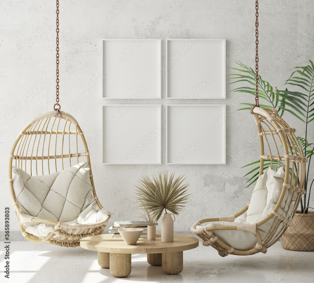 Fototapeta mock up poster frame in modern interior background, living room, Scandinavian style, 3D render, 3D illustration