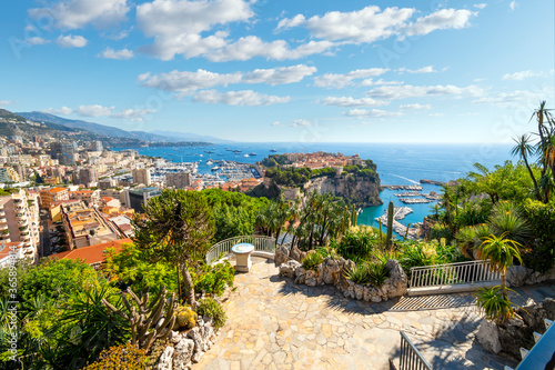 View of the Mediterranean Sea, and the marina, port, cities of Monte Carlo and Fontvieille, and rock of Monte Carlo, Monaco, from the Exotic Gardens.