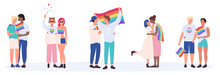 LGBT Couple People Vector Illustration. Cartoon Flat Happy Interracial LGBTQ Community, Young Homosexual Lover Characters Standing Together And Hugging, Holding Rainbow Love Flag Set Isolated On White