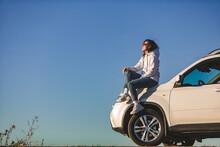 Woman Near White Suv Car Enjoy...