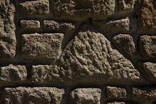 Dark Brown Close-up Stone Wall...