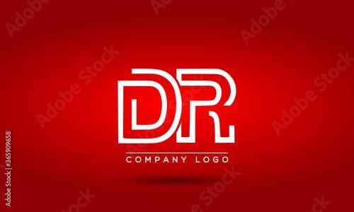 Cuadros en Lienzo Unique, Modern, Elegant and Geometric Style Typography Alphabet DR letters logo