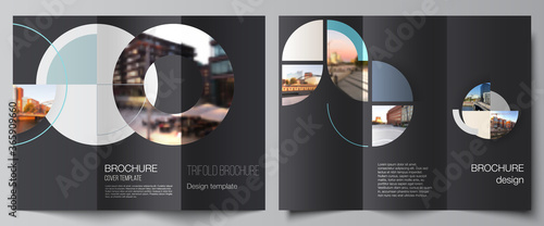 Obraz Vector layouts of covers design template for trifold brochure, flyer layout, book design, brochure cover, advertising. Background with abstract circle round banner. Corporate business concept template - fototapety do salonu
