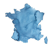 Watercolor Of Navy Blue Map Of...