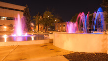 Fountains And Night Lights.  Springfield, Illinois, USA