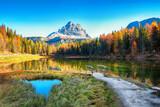 Fototapeta Kawa jest smaczna - Astonishing view of popular travel destination mountain lake Antorno in autumn