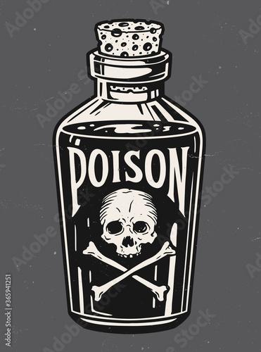 Fotografia, Obraz Vintage hand drawn bottle of poison vector illustration.