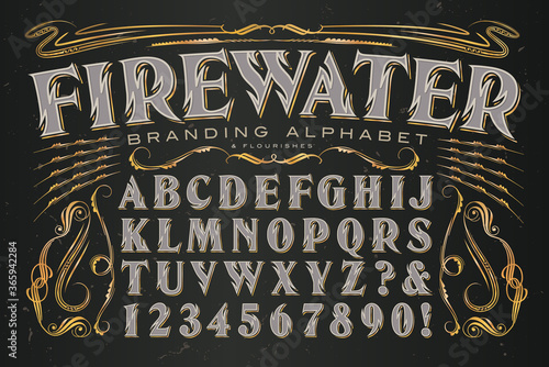 Firewater Branding Alphabet is a Heavily Stylized Serif Capitals Font with Zig Zag Lines Reminiscent of Flames; Ideal Set of Graphics and Letters for Alcohol Branding Canvas Print