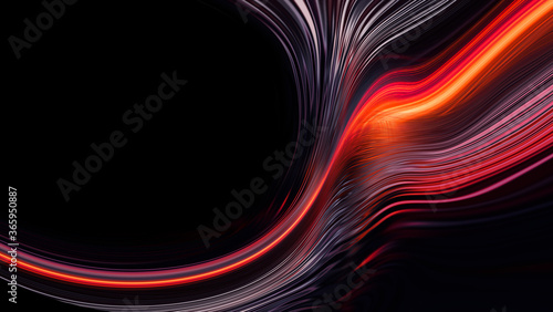 Dark neon modern background with rays and liquid, flowing reds, fire lines Wallpaper Mural