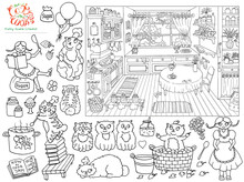 Collection With Black And White Hand Drawn Illustration Of Vintage Kitchen Sketch, Pretty Girl And Funny Bobtail Cats Helping Cook Jam, Funny Scene Creator,  Line Art Drawing For Coloring Book