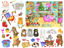 Design Set With Cute Hand Drawn Illustration Of Old Vintage Kitchen And Clip Art Collection Of Pretty Girl And Bobtail Cats The Cooks. Funny Scene Creator, Watercolor Vintage Background With Objects