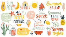 Summer Hand Drawn Lettering Calligraphyc Set. Hello Summer, Summer Time, Food, Drinks, Fruits And Other Elements.
