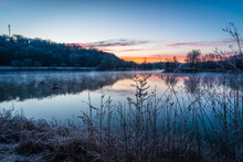 Sunrise Over The Lake In Winter