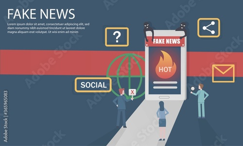Valokuva Fake news from internet and social media can be sent online to the global quickly, just by sharing on smartphone,Vector illustration