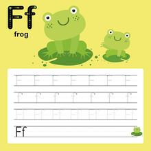 F, Frog, Alphabet Tracing Worksheet For Preschool And Kindergarten To Improve Basic Writing Skills, Vector, Illustration
