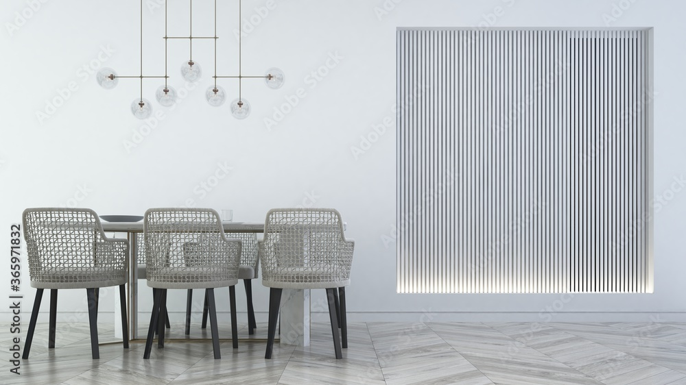 Fototapeta Modern interior mock up design of dining room and wall pattrern background