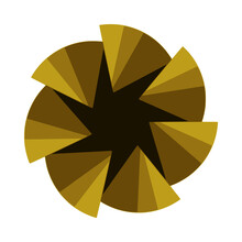 Golden Flower With Pyramid Corners. Transparent Luxury And Abstract Shape Vector