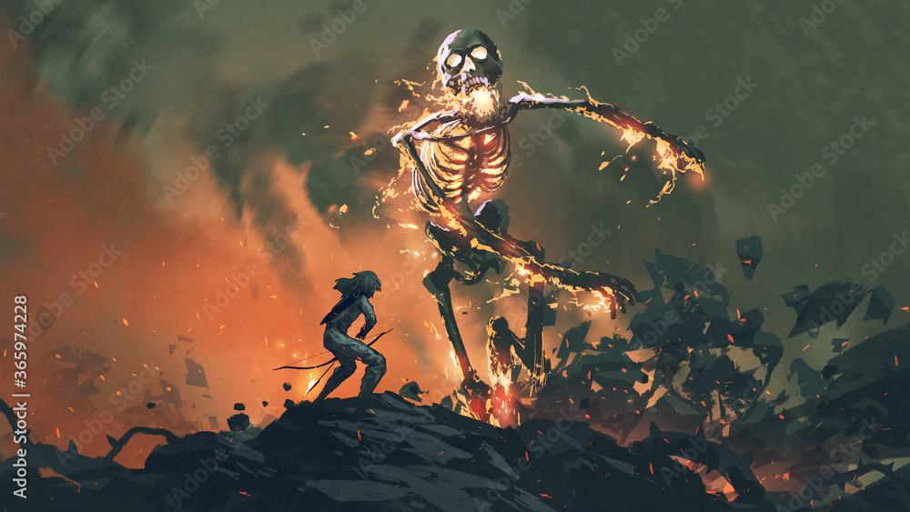 Fototapeta man with a bow  face to face with a flaming skeleton, digital art style, illustration painting