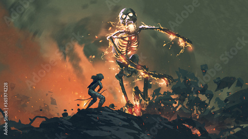 Fotografia man with a bow  face to face with a flaming skeleton, digital art style, illustr