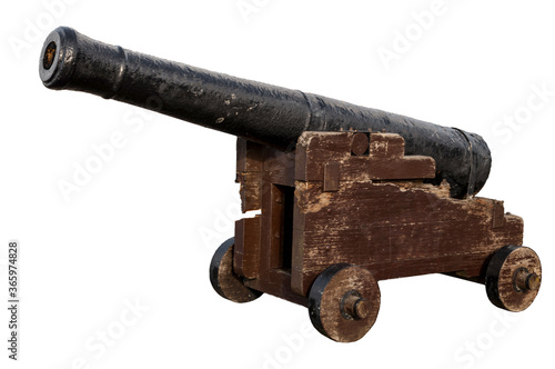 Obsolete defense, old-fashioned battle gun and vintage weapon concept with photo Canvas Print