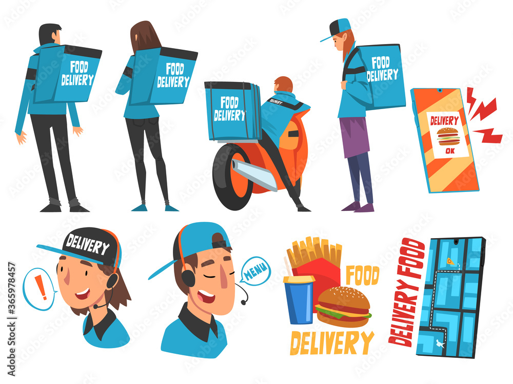 Fototapeta Food Express Delivery Service Set, Online Ordering, Couriers Wearing Blue Uniform Carrying Backpack Boxes Cartoon Style Vector Illustration